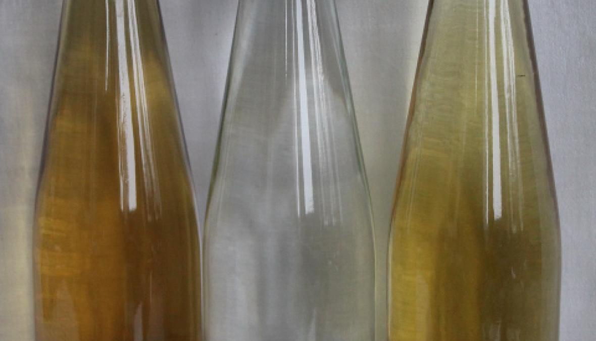 Karaffe mit Destillat und verschiedenen Gläsern